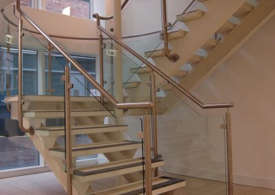 Installed staircase with stainless steel & glass balustrade