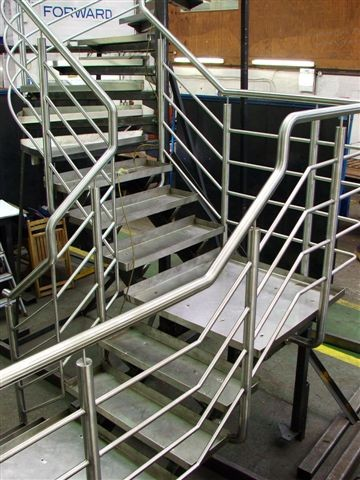 Spiral staircase under manufacture