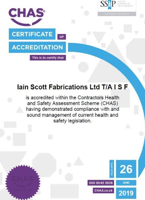 ISF reaccredited with CHAS & Safe Contractor Certificate