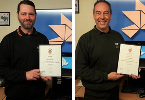 Gary and Steve pass Institute of Occupational Safety and Health (IOSH) Managing Safely Course